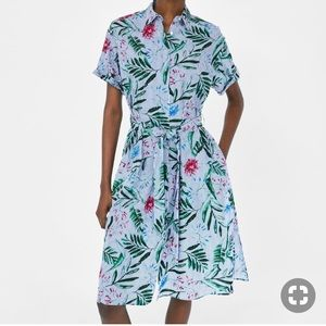 Zara Stripes and Flowers Midi Dress